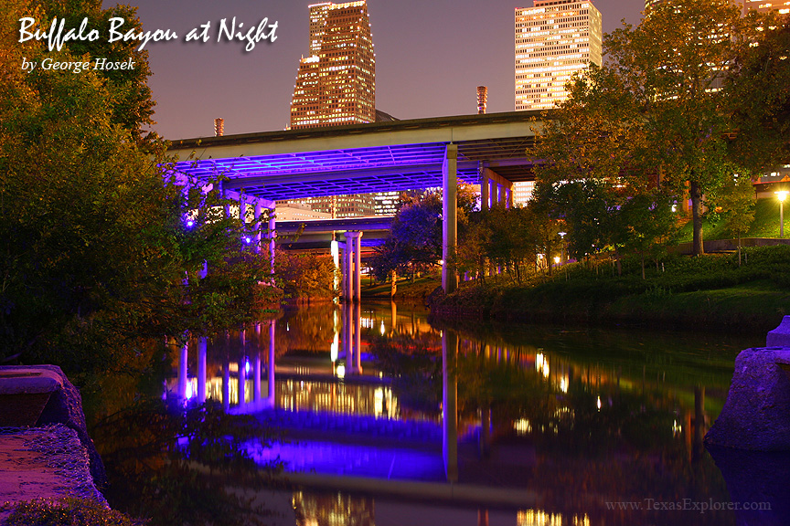 Buffalo Bayou at Night, Houston Texas