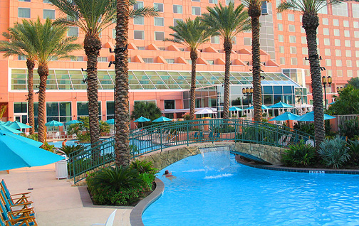 The beautiful resort style pool at Moody Gardens Hotel.